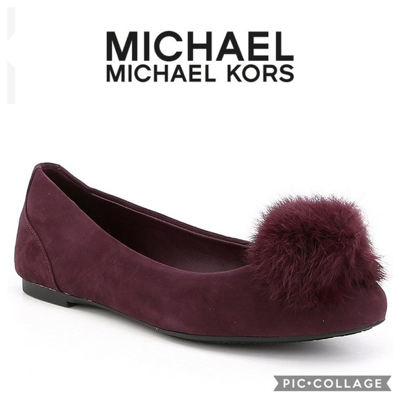 Michael Kors Pom Pom Suede Ballet Flats